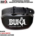 Внешний вид - BUKA BLACK LEATHER WEIGHT LIFTING BELT BODY BUILDING GYM BACK SUPPORT 6 INCH NEW