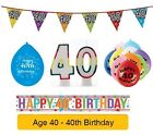 AGE 40 - Happy 40th Birthday Party Balloons, Banners & Decorations