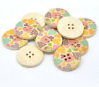 Pastel Heart Design Wooden Buttons 30mm. Ideal for sewing and crafts