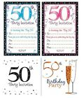 AGE 50 - 50th BIRTHDAY Party Invitations & Envelopes Boy Male Girl Female Invite