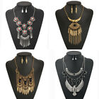 New Chunky Jewelry Set Women Tassel Bib Choker Pendant Boho Necklace Earrings