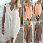 NEW Summer Women Fashion Plus Size Loose Solid Color V Neck Hollow Casual Dress