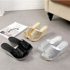 3Color Woman's High Heel Open Toe Chunky Glitter Platform Wedge Sandals Shoes Sz