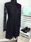 Lost Ink Women's Black Smock Shirt Dress With Lace Panel (AS-40/19)