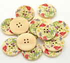 Spring Garden Design Wooden Buttons 30mm. Ideal for sewing and crafts Free P&P