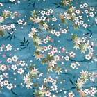 Asian Floral, Metallic Silver Etched Sm Flowers On Aqua Cotton Per 1/2 Yd or BTY