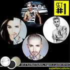 Bill Kaulitz SET OF 4 BUTTONS or MAGNETS or MIRRORS Tokio Hotel pinback #1189