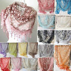 Women Embroidery Lace Sheer Triangle Veil Tassel Scarf Shawl Wrap 18 Color New