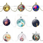 New Beauty and the Beast Disney Art Souveni Necklace Rose Glass Pendant