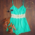 Size S Green Bodysuit Women Sexy Sleeveless Jumpsuits Romper Playsuit Shorts