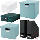 IKEA Tjena CD, DVD, Office Paper Filing Storage Box With Lid and Magazine Files