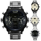 Fashion Men's Date Stainless Steel Band LED Dual Time Analog Sport Wrist Watch