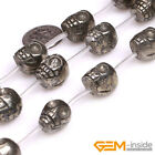 Natural Silver Gray Pyrite Gemstone Skull Craft Beads For Jewelry Making 15""