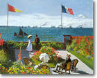 HUGE Monet Garden Sainte-Adresse Stretched Canvas Giclee Art Repro ALL SIZES