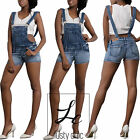 Womens Sexy Ladies Denim Shorts Ripped Dungaree Jeans Playsuit Size 6 8 10 12 14