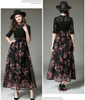 Ladies Black Lace&Organza Floral Short Sleeve Summer Long Dress Size 4 6 8