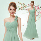 Aqua One Shoulder Bridesmaid Dresses A Line Chiffon Evening Formal Party Gowns