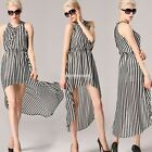 Angvns Stylish Lady Women Sexy V-Neck Sleeveless Striped Irregular Hem EN24H