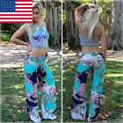 Women Fashion Bohemian Loose Palazzo Trousers Floral Wide Leg Long Stretch Pants