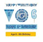 AGE 6 - Happy 6th Birthday BLUE GLITZ - Party Balloons, Banners & Decorations