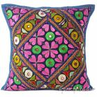 "16"" Blue Patchwork Colorful Sofa Pillow Cushion Cover Throw Bohemian Boho Indian"