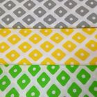 LOVELY Grey, Yellow, Green Rhombus 100% COTTON FABRIC