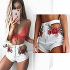 Embroidered Womens High Waist Ripped Hole Shorts Jeans Denim  Short Hot Pants