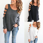 Womens Cut Out Off Shoulder Long Sleeve Jumper Top Loose Blouse T Shirt Pullover