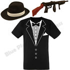 MENS ADULTS 1920S 20S PIMP GANGSTER TUXEDO T SHIRT FANCY DRESS COSTUME