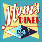 Moms Diner 24 Hours Day Night Wall Decal Vintage Style Kitchen Decor