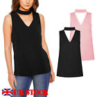 Ladies Womens V Neck collar Choker High Neck Cut Out Plunge Blouse Shirt Tops