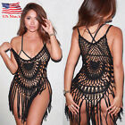 US Stock Women Bathing Suit Swimwear Crochet Tassel Bikini Cover Up Beach Dress