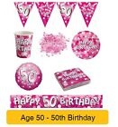 AGE 50/50th Birthday PINK SPARKLE Birthday Party Range - Tableware Banners Decs