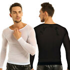 Sexy Mens Sports Sheer Tight Muscle Long Sleeve See Through Mesh T Shirt Top Tee