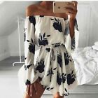 Fashion Women Slash Neck off Shoulder Tunic Floral Print Vestidos Summer Dress