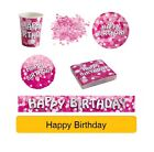PINK SPARKLE Birthday Party Range AGE 18/21/30/40 Tableware Banners Decs AMSCAN