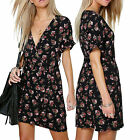 Ladies Floral Printed Wrap Over V-Neck Tie Waist Midi Dress Plunge Short Sleeve