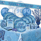 AGE 90 - Happy 90th Birthday BLUE GLITZ - Party Range, Banners & Decorations