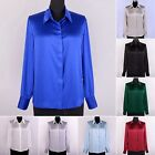 Womens Ladies 19MM 100% Pure Silk Business Dress Shirts Tops Blouse Size XS-5XL