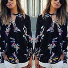 Bohemia Women's Long Sleeve Blouse V Neck Chiffon Floral Tops Loose T Shirts Tee