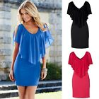 US Women Summer Casual Short Sleeve Evening Party Beach Dress Short Mini Dress