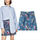 Womens Denim Jeans Full Floral Embroidered Raw A Line Mini Short Skirt Vintage