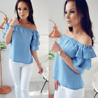 Women Off Shoulder Shirt Solid Color Ruffle Half Sleeve Casual Blouse Loose Tops