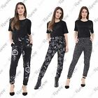 New Womens Floral Printed Loose Fit 2 Pockets Full Length Leggings Trouser Pants