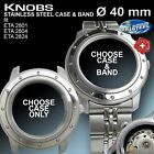 KNOBS CASE Ø 40 MM, WR 50 M, & BAND FOR ETA 2824-2 OR SW 200, ST. STEEL
