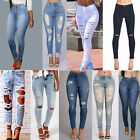 WOMENS RIPPED JEANS HIGH WAIST SLIM FIT LADIES SKINNY DENIM SIZES