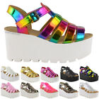 WOMENS LADIES CHUNKY GLADIATOR STRAPPY SANDALS WEDGES PLATFORM SHOES SIZE