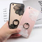 Luxury Lace Flower Clear Ring Holder Stand Case Cover For iPhone 6 6S 7 8 Plus X