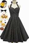 50s Style PLUSSZ EleanorPaige PINUP Black Polka Dots SWEETHEART HALTER Sun Dress
