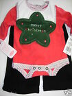 Bon Bebe Infant Baby Girl's 3 Pcs Pant Set Merry Christmas Red 0-3 or 3-6 Mo NWT